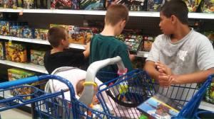 Three kids being good