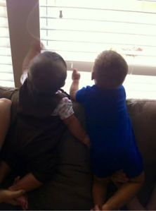 playing with blinds together- oh what fun!