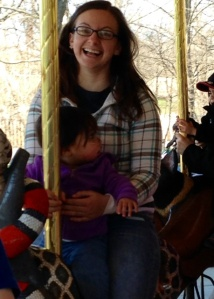 On the carousel (Jo Jo didn't like it, so I had to get up there with her)