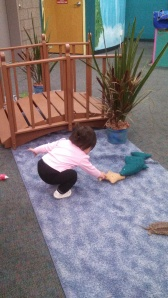 "Loved all the playing pretend areas they had. She is ""fishing"""