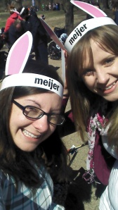 Sisters gettin' our bunny ears on