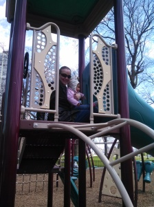 My girls at the plaground, burning off some energy before the long drive home