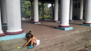 Someone left a baby toy on the steps,I just loved this columned pavilion