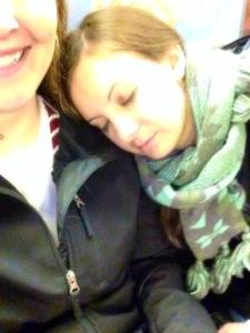 Sleeping on the subway in NYC. 'Cause I  was seriously that tired even though we were only there for a day.
