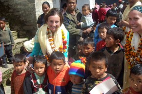 In Soluckhumbu, delivering medical supplies as well as school supplies for these Sherpa children
