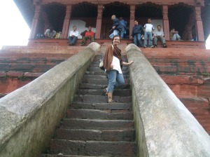 In 2007, climbing a temple in Durbar Square, Kathmandu. This temple is probably not standing as of yesterday.