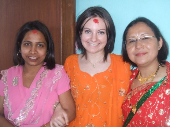 With my meetini, and my Nepali didi (sister)