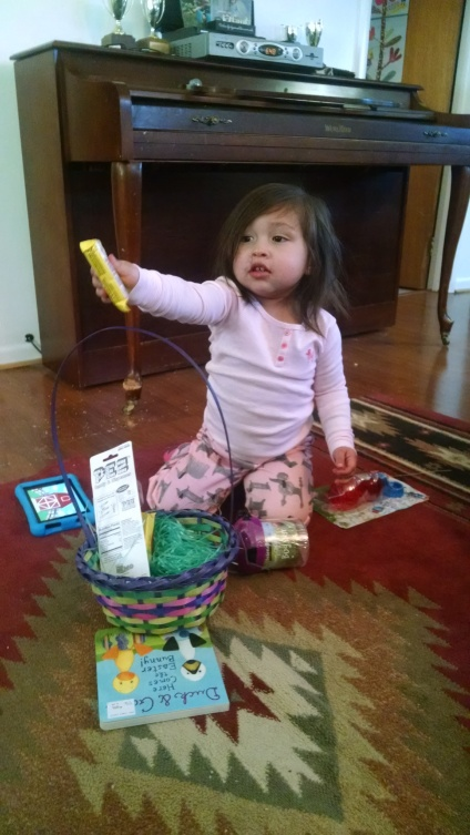 Easter basket: two chocolate eggs, bubbles, bug jar, Nemo Pez, and book