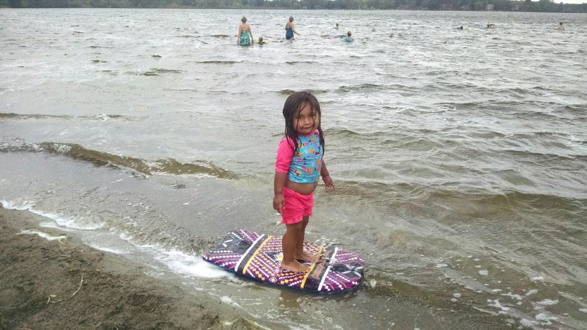Gosh mom, why are you acting like this is so weird? I'm trying to surf, here.