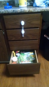 Bottom drawer: non-refrigerated snacks, portioned out if need be (crackers are in individual baggies