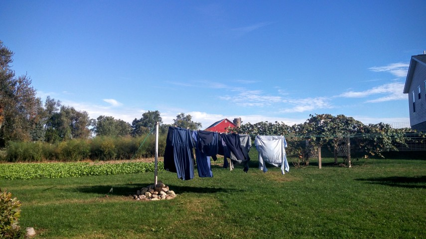 Clothing drying in the chilly October breeze