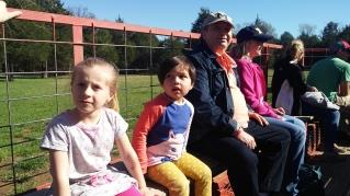 Tractor ride with grandpa and grandma