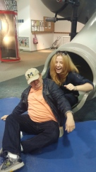 My sister and dad take on the 2 story slide