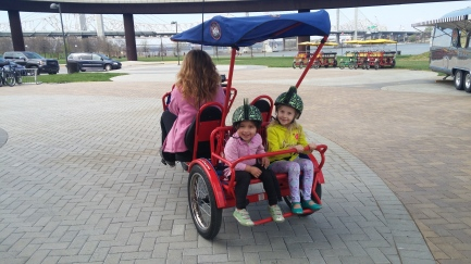 So much fun in our bicycle buggies!
