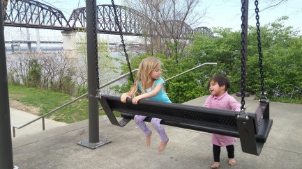 """Lots of """"porch swings"""" along the river"""